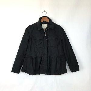 Kate Spade Military Peplum Hem Black Jacket XS